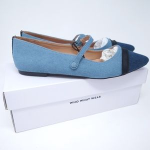 Mary Jane Ballet Flats Blue Size US 10